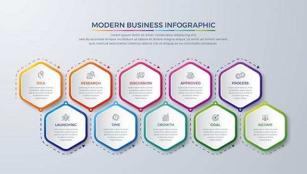 Moderne infografik mit 10 schritten Premium Vektoren