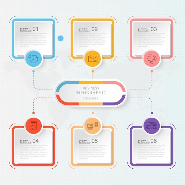 Moderne infografik mit sechs schritten Premium Vektoren