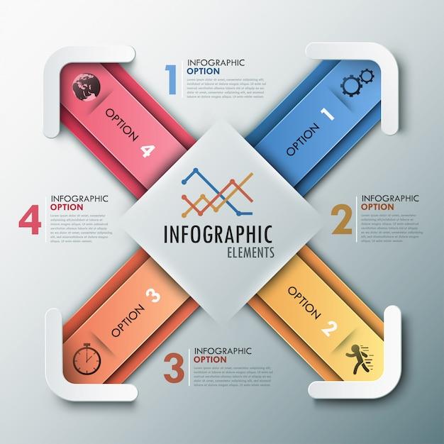 Moderne infografik-optionen banner mit 4 pfeilen Premium Vektoren