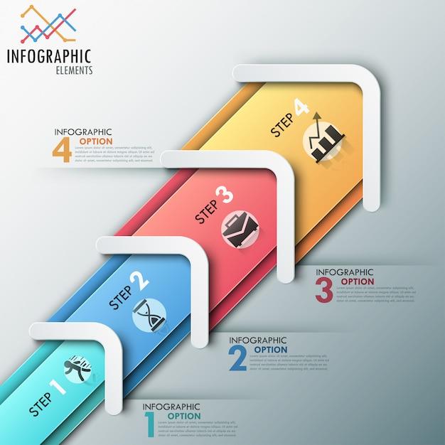 Moderne infografik prozessvorlage mit pfeilen Premium Vektoren