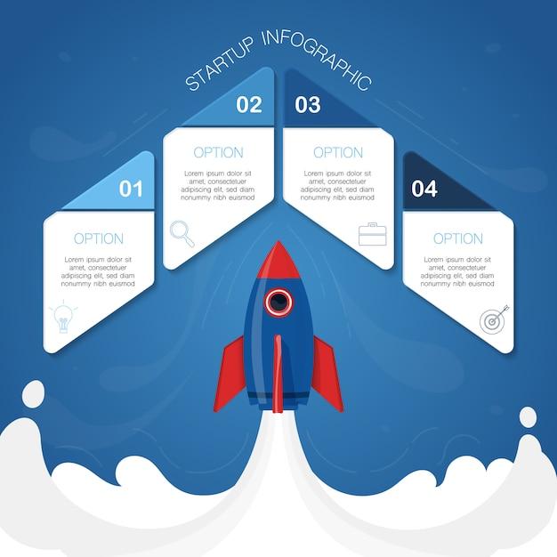Moderne infografik, raketenkonzept, illustration mit 4 geometrischen formen für text Premium Vektoren