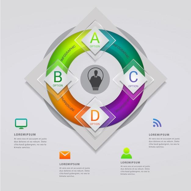 Moderne infografik-vorlage mit vier optionen Premium Vektoren