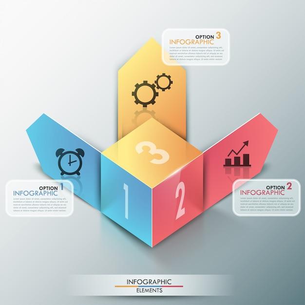 Moderne infografiken der wahl 3d fahne Premium Vektoren