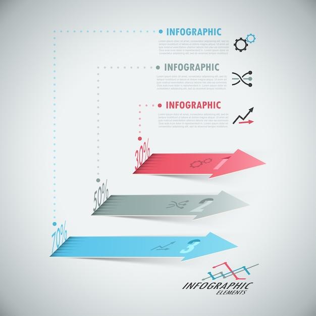 Moderne infografiken der wahl 3d mit realistischen pfeilen Premium Vektoren
