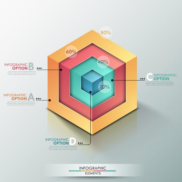 Moderne infografiken der wahlfahne 3d mit realistischem würfel Premium Vektoren