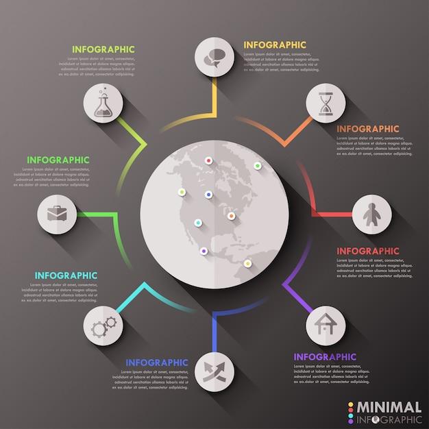 Moderne infografiken flache globale vorlage für 8 optionen Premium Vektoren