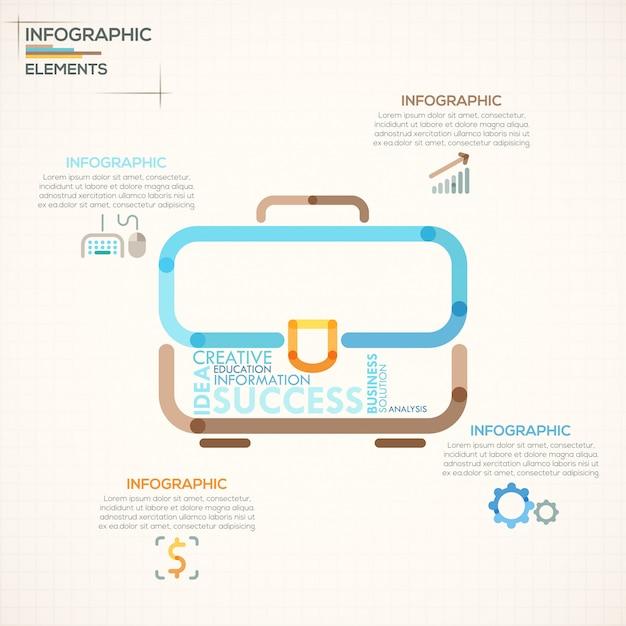 Moderne infografiken option banner mit bunten aktentasche Premium Vektoren