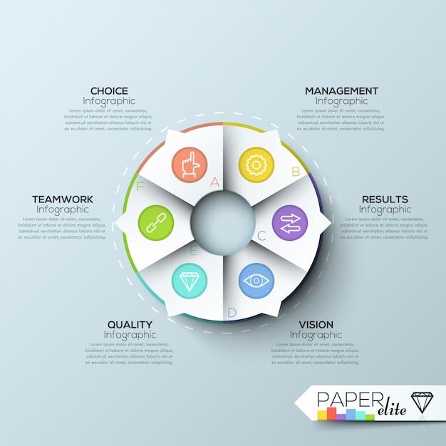 Moderne infografiken optionen banner mit 6-teiligen kreisdiagramm und symbole Premium Vektoren