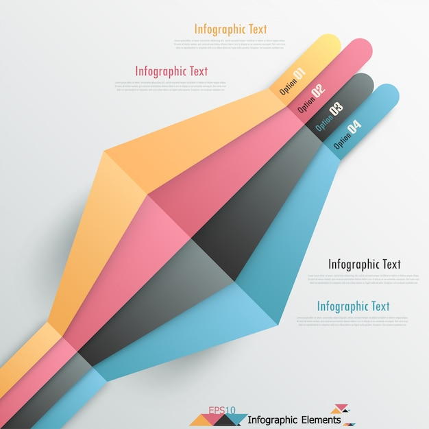 Moderne infografiken optionen banner mit bändern Premium Vektoren