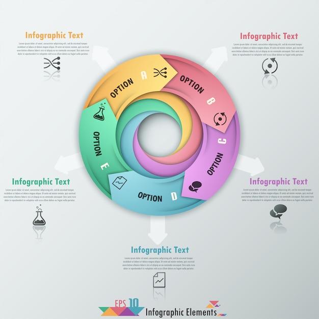 Moderne infografiken optionen banner mit pfeilen Premium Vektoren