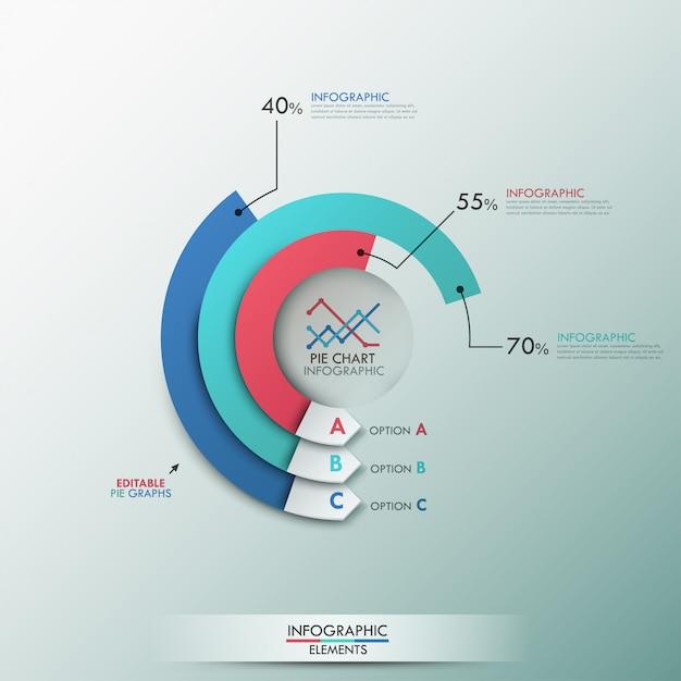 Moderne infografiken-optionsvorlage mit 3 kreisdiagrammen Premium Vektoren