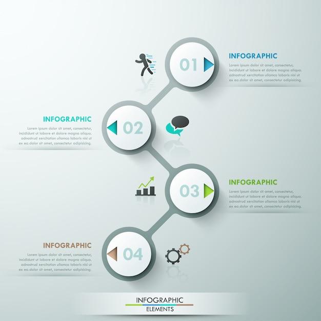 Moderne infografiken prozessvorlage mit 4 papierkreisen Premium Vektoren