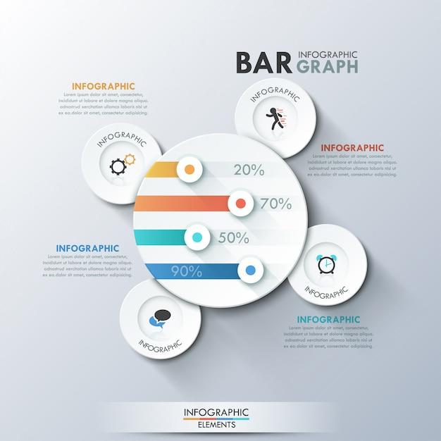 Moderne infografiken vorlage mit papier kreisen Premium Vektoren