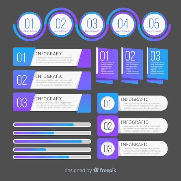 Moderne infographic elementsammlung mit steigungart Kostenlosen Vektoren