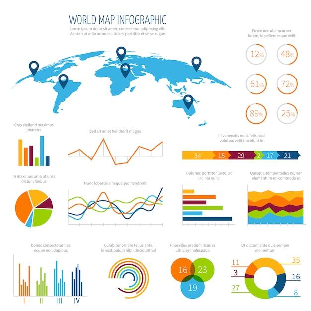Moderne infographic vektorschablone mit karte und diagrammen der welt 3d Premium Vektoren