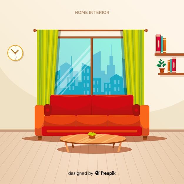 Moderne inneneinrichtung mit flachem design Kostenlosen Vektoren