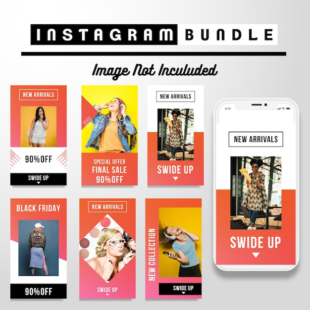 Moderne instagram story mode vorlage Premium Vektoren