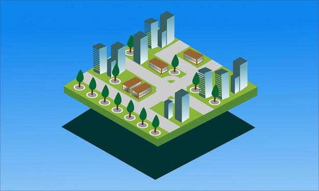 Moderne isometrische fahne der intelligenten stadt Premium Vektoren