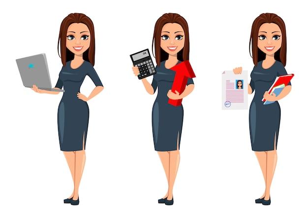 Moderne junge geschäftsfrau im grauen kleid Premium Vektoren