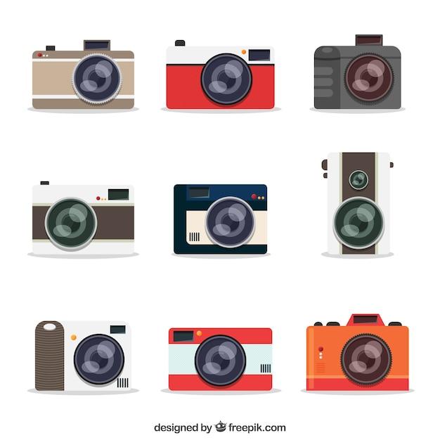 Moderne kamera-kollektion Kostenlosen Vektoren