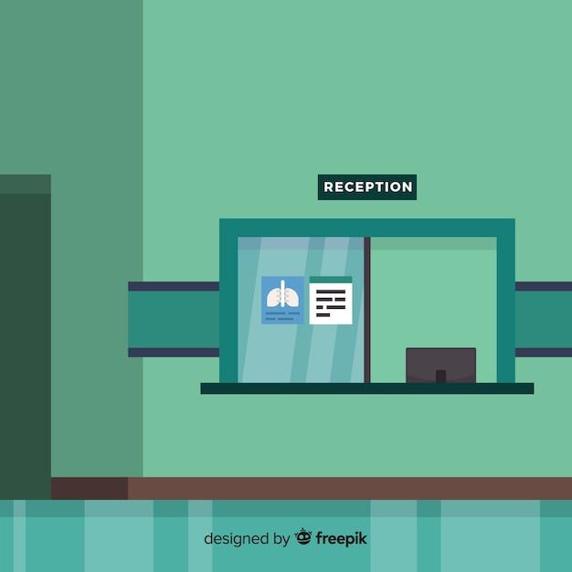 Moderne krankenhausaufnahme mit flacher bauform Kostenlosen Vektoren