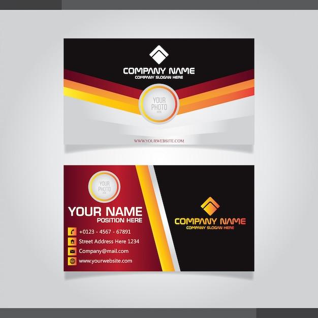 Moderne kreative visitenkarte und visitenkarte rote, schwarze und orange farbe Premium Vektoren