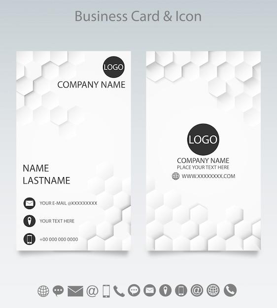 Moderne kreative visitenkarteschablone und -ikone. Premium Vektoren