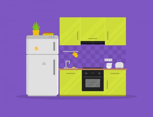 Moderne küche mit möbeln Premium Vektoren