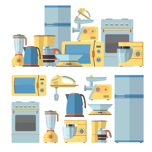 Moderne küchengeräte eingestellt. vektorillustration im flachen artdesign. design-elemente Premium Vektoren