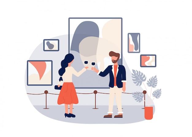Moderne kunst galerie eröffnung mann frau wein trinken Premium Vektoren