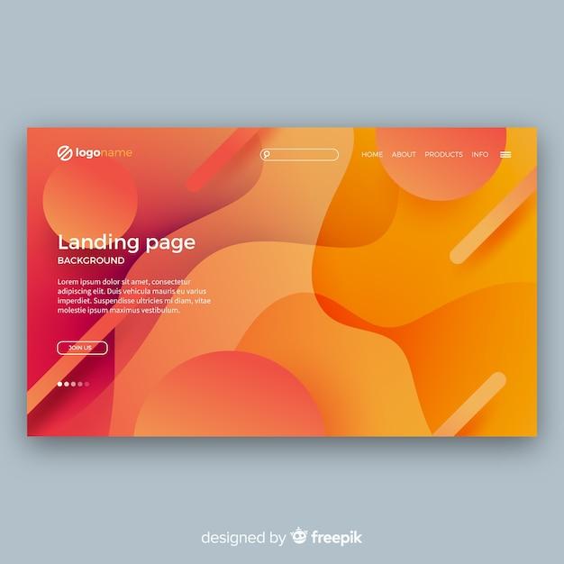Moderne landing page mit abstraktem design Kostenlosen Vektoren