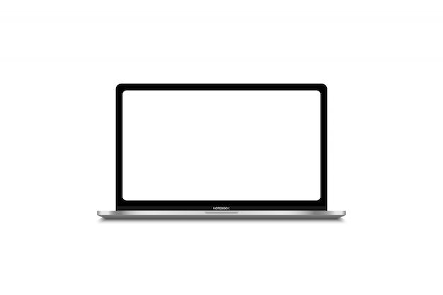 Moderne laptop-computer lokalisiert auf weißer schablone für inhalt Premium Vektoren