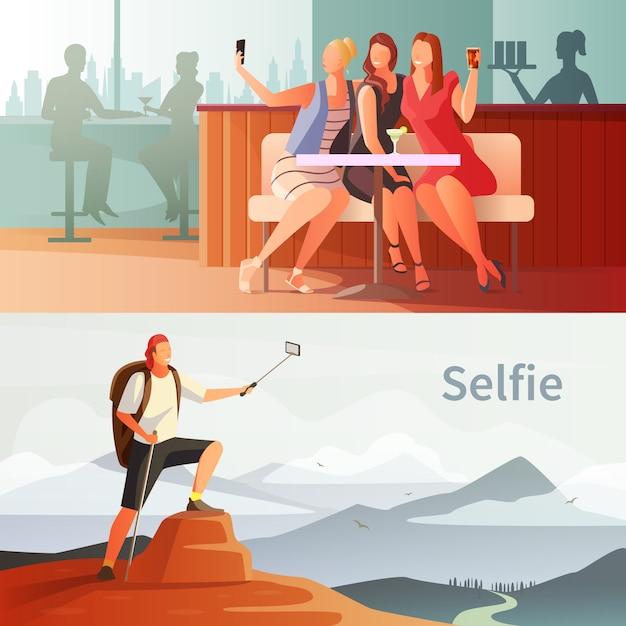 Moderne leute selfie set Kostenlosen Vektoren