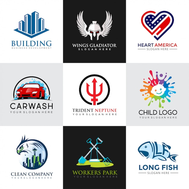 Moderne Logo Design Vorlagen eingestellt Premium Vektoren