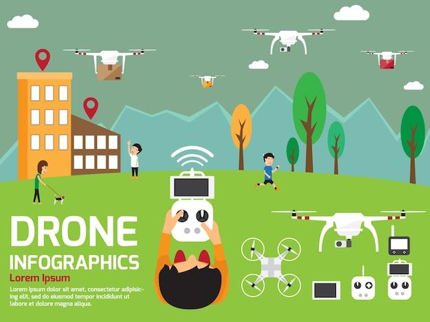 Moderne luft drohnen infografik elemente Premium Vektoren