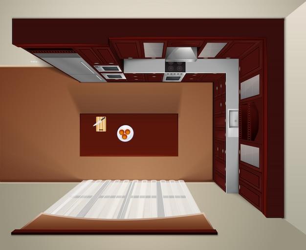 Moderne luxusküche mit dunklen holzschränken und esstisch Kostenlosen Vektoren