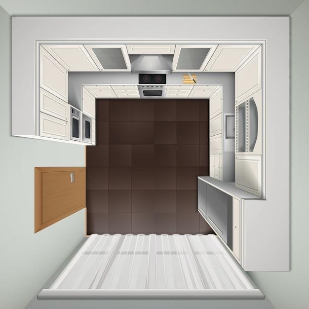 Moderne luxusküche mit weißen kabinetteinbauherden und realistischem bild der draufsicht des kühlschranks Kostenlosen Vektoren