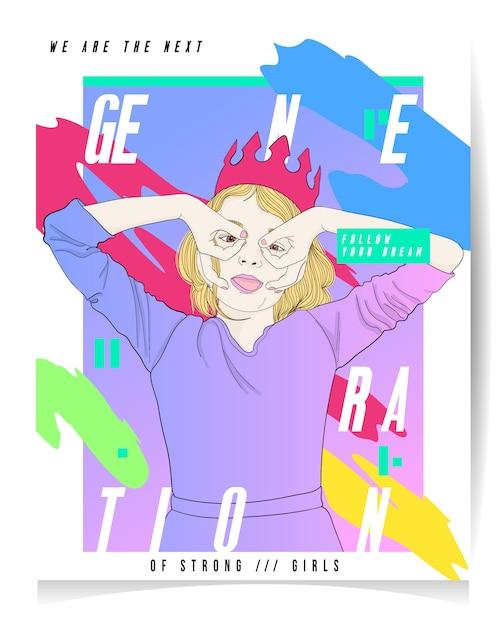 Moderne mädchenillustration mit text: generation von starken mädchen Premium Vektoren