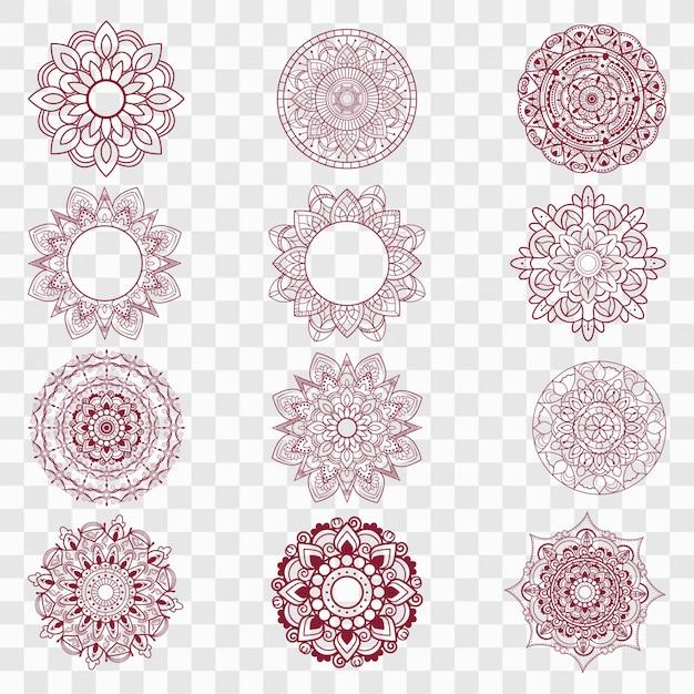 Moderne mandala-designs festgelegt Kostenlosen Vektoren