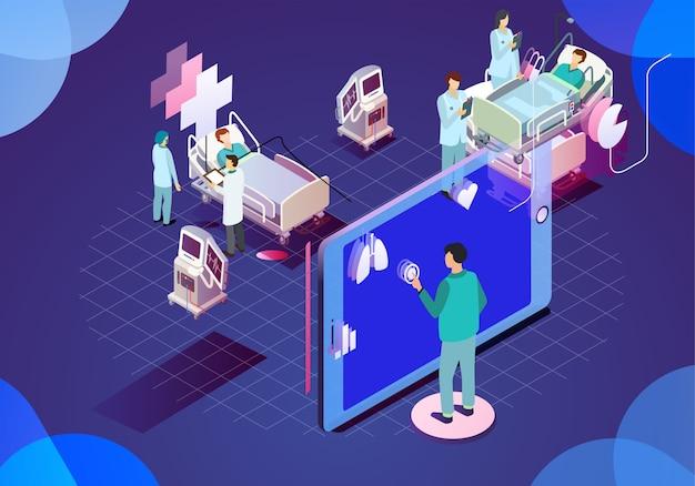 Moderne medizinische technologieillustration Premium Vektoren