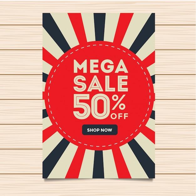 Moderne mega sale banner und flyer illustration Kostenlosen Vektoren