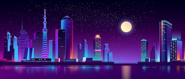 Moderne megapolis am fluss in der nacht Kostenlosen Vektoren