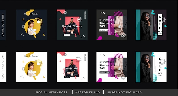 Moderne mode-social media-beitragsschablone mit memphis-element Premium Vektoren