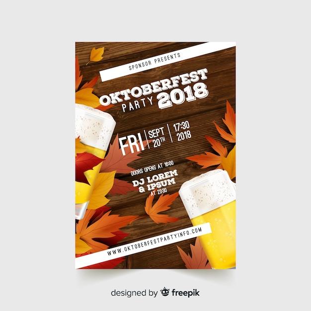 Moderne oktoberfest-fliegerschablone mit realistischem design Kostenlosen Vektoren
