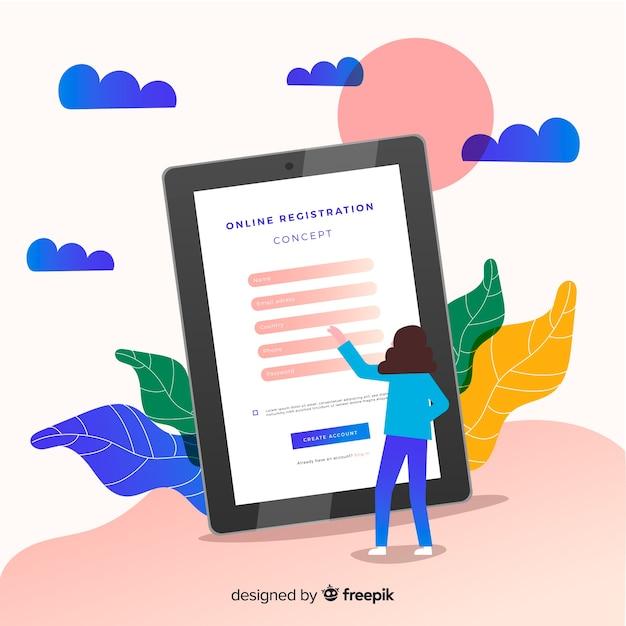 Moderne online-registrierung Kostenlosen Vektoren