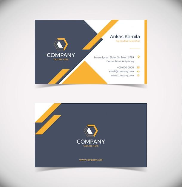 Moderne orange graue visitenkarten-entwurfsschablone mit geometrischer form Premium Vektoren