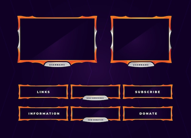 Moderne orange zuckende gaming-panel-überlagerung Premium Vektoren