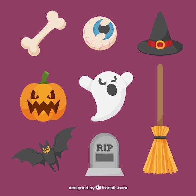 Moderne packung flache halloween-elemente Kostenlosen Vektoren