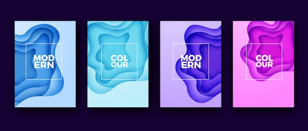 Moderne papercut-bunte plakatsammlung Premium Vektoren