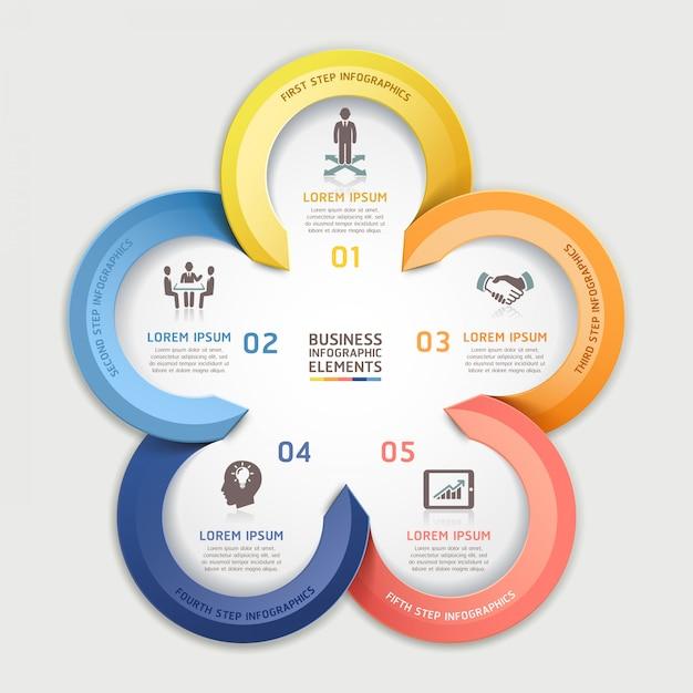 Moderne pfeil infografiken business circle element origami-stil. Premium Vektoren